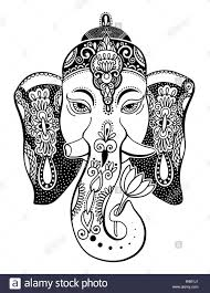 Lord Ganesha Head With Lotus Drawing Indian Spirit Animal Elephant