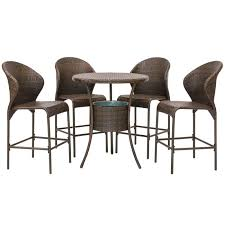 best choice s 5 piece outdoor patio furniture wicker bistro bar table set w