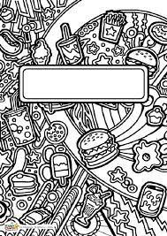 pencils themed book cover colouring page