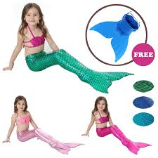Girls <b>Mermaid</b> Tail Cosplay with <b>monofin</b> kids <b>Fancy</b> Dress Swim ...