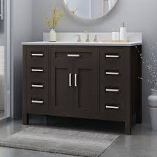 The single vanity set is crafted of solid birch wood, with an undermount rectangular ceramic sinks. Greeley Contemporary 48 Wood Single Sink Bathroom Vanity With Carrera Marble Top By Christopher Knight Home On Sale Overstock 25716175
