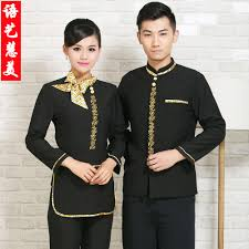 get ations hotel overalls fall and winter clothes female hotel restaurant waiter uniform front desk to close the