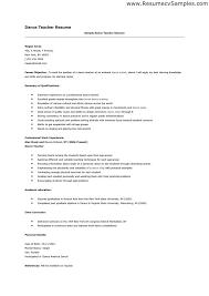 dance resume layout sample httptopresumeinfodance resume. dance ...