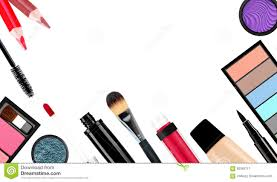 royalty free stock photo makeup brush and cosmetics on a white background isolated
