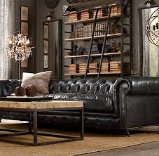 black leather couch. Dark Masculine Living Area Decoratin Ideas With Black Leather Sofa Couch