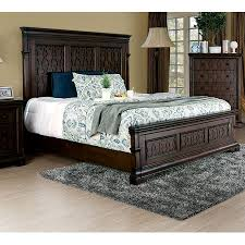 Bedroom Furniture Modern 1pc California King Size Bed Walnut Finish Decorative Headboard Tall Panel Solid Wood Bedframe