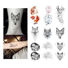 татуировка лиса наклейка водонепроницаемая временная подделка тату животные