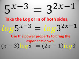 3 take the log or in of both sides use the power property to bring the exponents down