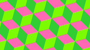 wallpaper 3d cubes green pink lawn green hot pink lime green #7cfc00  #ff69b4 #