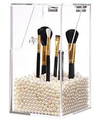 putwo makeup brush holder dustproof storage box premium quality 5mm thick acrylic makeup organizer white