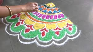 Kundan Rangoli Designs Small Freehand Colourful Rangoli Design By Rangoliart Decorations