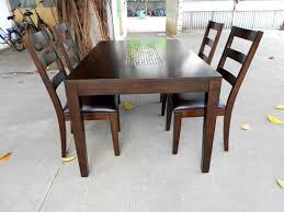 dining room table with leaf. Dining Room: Varnished Brown Solid Wood Table Have 4 Chairs With Cushions Room Leaf