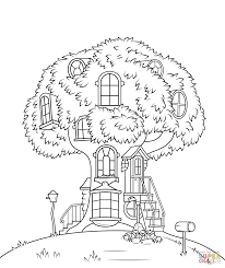 Tree House Coloring Pages | Coloring Page for Kids