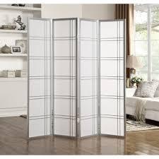"Roundhill Furniture Seto <b>4 Panel Room Divider</b> Screen, 71"" Tall, Silver"