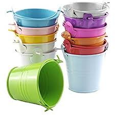 B&S FEEL Pack of 6 Mini Metal Buckets Tin Party Pail Containers, Assorted  Color