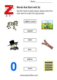 Words Starting With Z Worksheets For Kindergarten for Words With ...