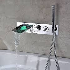 modern wall mount with pull out hand shower bathtub led waterfall faucet