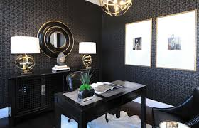 wallpapered office home design. Home Office Layout Wallpapered Design