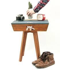 dark wood side table vintage nightstand rustic wood bedside table mid century end table dark oak dark wood side table
