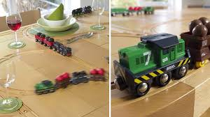 you know those wooden brio train tables you see at toy s the one s designed specifically for children that are set so low to the ground that grown ups