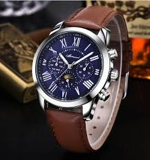 classic vintage r numerals mens wrist watches luxury brand classic vintage r numerals mens wrist watches luxury brand genuine leather blue face complete calendar watch men gift box in business watches from