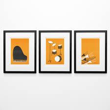 Mid Century Wall Decor Set Of 3 Music Posters Mid Century Modern Wall Art Birthday