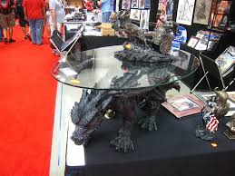 asian painted dragon black coffee table