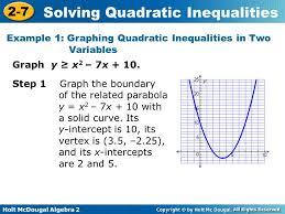 holt mcdougal algebra 2 2 7 solving quadratic inequalities graph y x 2
