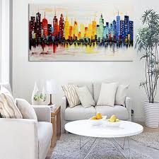Modern Art Paintings For Living Room 120x60cm Modern City Canvas Abstract Painting Print Living Room