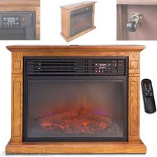large 1500w electric infrared quartz fireplace space heater mantel wheels remote unbranded