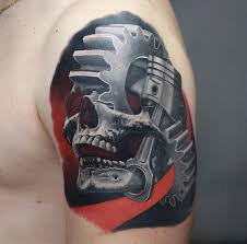 Skull Piston Cogs Tattoo By Korky Limited Availability At