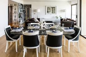 black and white chairs eclectic dining room janet rice interiors pertaining to decor 8