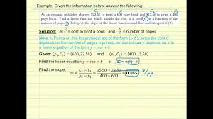find linear equation given two points