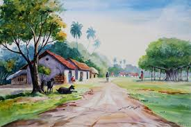 watercolor paintings by balakrishnan watercolor paintings village watercolor
