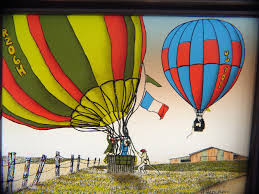 2 framed hargrove giclee paintings of hot air balloons on canvas
