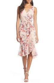 Eliza J Dress Size Chart Floral Ruched Chiffon Faux Wrap Dress