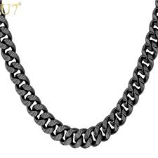 2019 unique new black plated long necklace for men fashion jewelty trendy 6 size 7mm cuban link chain necklaces men jewelry n560 from beijia2016
