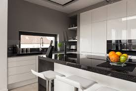 black white modern kitchen with gray walls and black76 kitchen