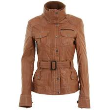 womens tan brown belted leather biker jacket 3