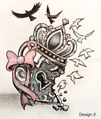 A Cool Heart Locket With Broken Hearted Crown And Birds Flying Away