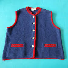 Stapf Vintage Bavarian Austrian Tyrol Tracht Womens Traditional Wool Vest Size 46 14 16