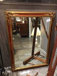 red and gold wall mirror gaslamp antiques