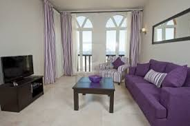 dark purple furniture. Rustic Living Room Apartment Decoration Purple Sofa Light Curtains Off White Painted Walls Dark Finished Furniture B