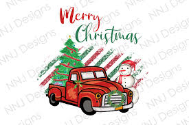 Merry Christmas With Vintage Truck Graphic By Nnj Designs Creative Fabrica