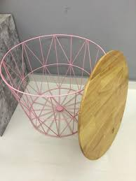 symmetry wire basket with solid wood