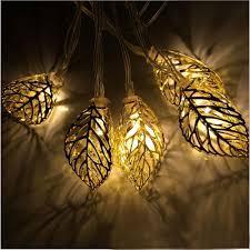 20 LED 16 ft Metal Tree Leaf Solar String Lights for Garden Pathway
