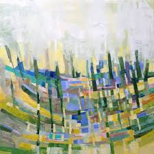 warp and weft painting looks like a city skyline to me