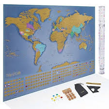 Large Us Map Poster Trip2go Scratch Off World Map Poster Deluxe Edition Large Scratch Map Of The World With Us States