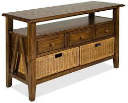 rustic wood finish claremont console table come with storage shelf together 3 drawer plus wooden knob