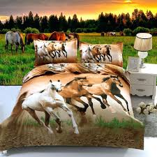 horse quilt bedding set cartoon polyester cotton brown color 3d animal horse bed sets quilt cover